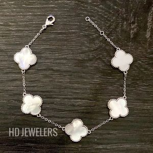 Jewelry - White Mother Of Pearl 5 Motif S925 Silver Bracelet